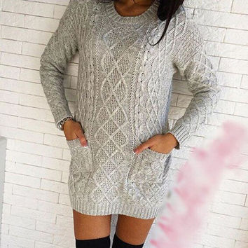 Fashion pocket knit sweater dress