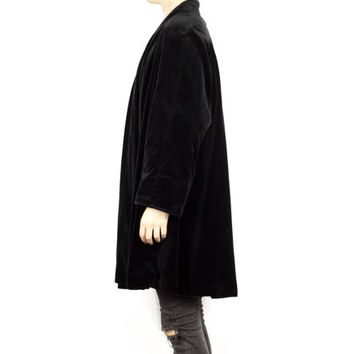 BLACK VELVET ROBE / DeBall / 80s goth / 1980s gothic / soft / witch / witchy / minimal / opera coat / natural 100% cotton / unisex size 16