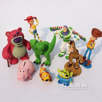 9Pcs/Lot Toy Story 3 Buzz Lighter Woody Jessie Action Figures PVC Action Figure Model Toys Collection Kids Best Christmas Gift
