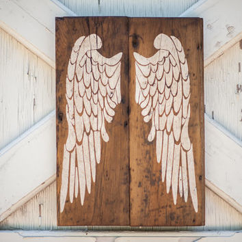 Rustic Angel Wings on old Shiplap, Rustic Decor, Farmhouse Decor, Rustic Nursery Decor, Gallery Wall Decor, Wooden angel wings