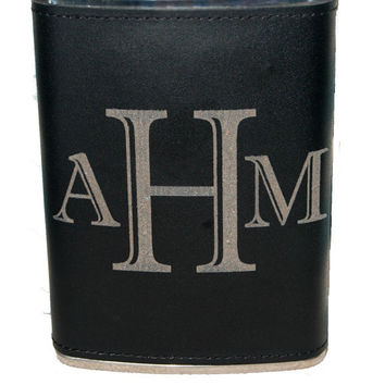 Custom Engraved - Personalized Leather Flask - Flask for Groomsmen, Best Man, Graduations, Birthdays