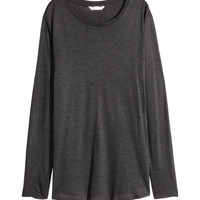 Long-sleeved Lyocell Top - from H&M
