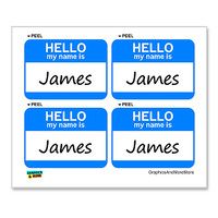 James Hello My Name Is - Sheet of 4 Stickers