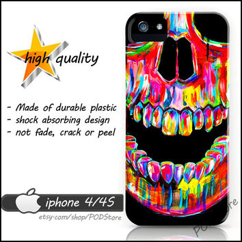 Day Of The Dead Black Death Skull iphone 4 case Colorful skull iphone4 casing
