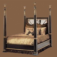 High end master bedroom set, Four Poster Bed, inset Antique Mirror detailing