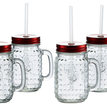 Rooster Mugs w/ Handle, 16 Oz, Set of 4, Mason Jars