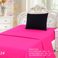 Tache 3 Piece Pink Superstar/ Black  Bed sheet set (Single)