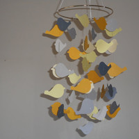 Yellow and Grey Dove paper mobile. Baby nursery mobile, Crib mobile, Boy/Girl/Teen/Dorm decor,  Modern decor, Choose your colors!