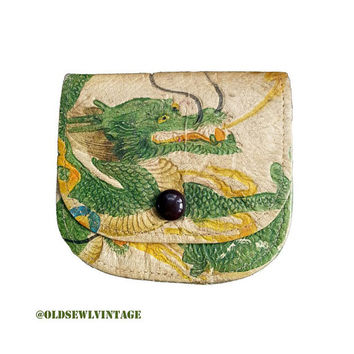 Vintage Leather Dragon Change pouch wallet