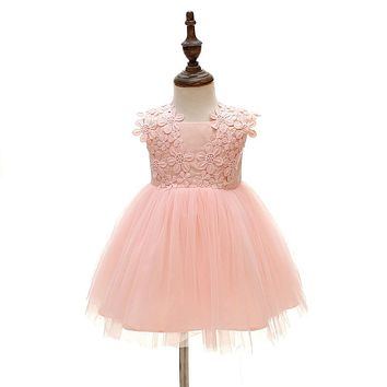 Pink Lace Newborn Baby Girl Dresses with Flower for Wedding Princess Christening Gowns 1 year birthday dress vestido infantil