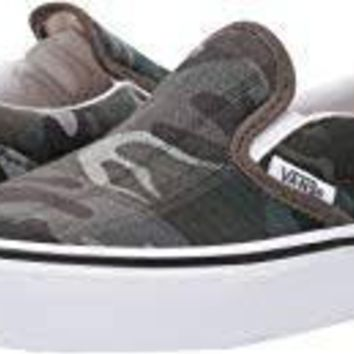 Vans Y Slip On(Plaid Camo)Grape Leaf