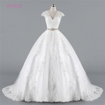 Wedding Dresses Ball Gown Cap Sleeves Tulle Lace