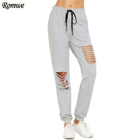 Fashion Pants Woman Autumn Women Full Length Cotton Casual Pants Heather Grey Ripped Drawstring Sweatpants