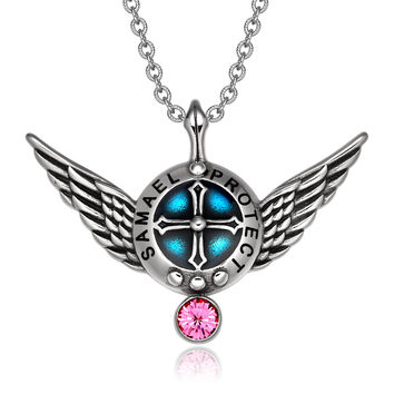 Archangel Samael Angel Wings Protection Shield Magic Powers Charm Pink Crystal Pendant 18 inch Necklace