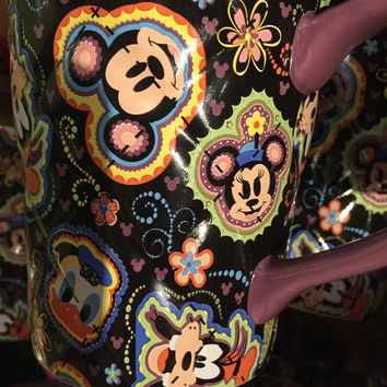 disney parks mickey and friends collage ceramic coffee cup mug new