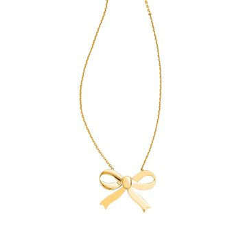 14K Yellow Gold Shiny Cable Chain Link Necklace with Lobster Clasp+Large Bow Pendant
