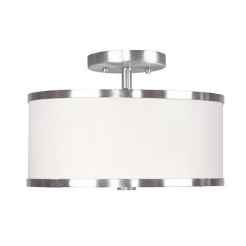 Semi Flush Mount 11-Inch Modern Round Ceiling Light with Bottom Diffuser