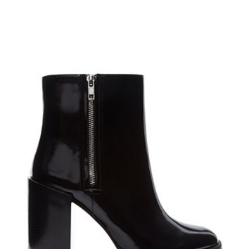 Extended Heel Faux Leather Booties
