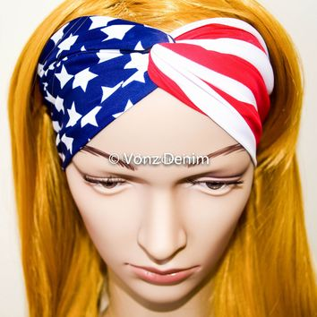 American Flag Headband, Wide Stretchy Women's Head Wrap, USA Hair Band, Twisted Headband, Wide American Flag Turband in Red White and Blue
