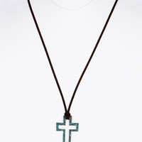 NECKLACE / AGED FINISH METAL / CROSS PENDANT / CUTOUT / HAMMERED / FAUX SUEDE / 28 INCH LONG / 1 3/4 INCH DROP / NICKEL AND LEAD COMPLIANT