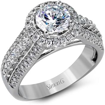 Simon G. Diamond Halo Round Cut Center Engagement Ring