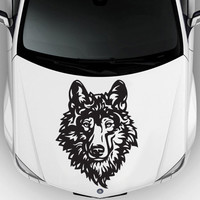 Car decal hood sticker wall art graphics paint auto truck design wolf predator animal head (m1194)