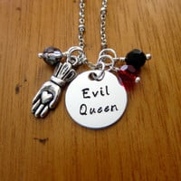 "Once Upon A time Inspired Necklace. ""Evil Queen"" Villain. Wicked Queen. Disney's ""Snow White"". Silver colored. Swarovski crystal."