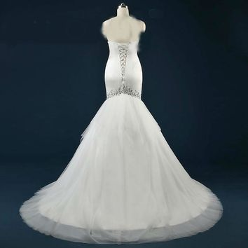 Tulle Tiered Ruffles Court Train Mermaid Wedding Dresses Crystal Beaded Sequins Off Shoulder Bridal Gowns