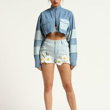 Color Blocked Cropped Jean Jacket