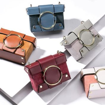 Leather small box square portable mini handbag