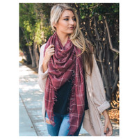 """Style and Flare"" Frayed Edge Washed Red Plaid Oblong Scarf"