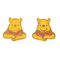 Gold Plated Enamel Winnie The Pooh Stud Earrings From Disney Couture : TruffleShuffle.com
