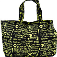 Large Nightmare Before Christmas Overnight Bag Purse Gothic Jack