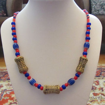 Ghana Brass Basket Weave Beads, Blue Chevrons, White Hearts, Wedding Beads Necklace 21""