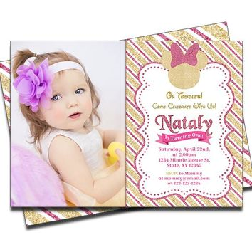 Minnie Mouse Pink Gold Birthday Invitations
