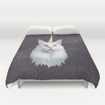 Unicorn Cat Duvet Cover by Oh Monday