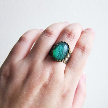 Large Oval Emerald Green Ring, Ombre Pine Green Ring, Adjustable Ring, Modern Jewelry Gift, Statement Ring, Friendship Ring