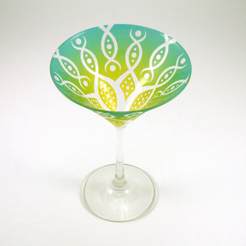 Painted Martini Glass  Vesuvian Flower  Green and by woodeyeglass