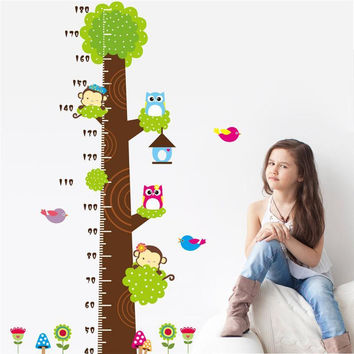 Owl monkey butterfly flower tree growth chart wall art home decorations animal stickers cartoon children wall decals zooyoocd003 SM6