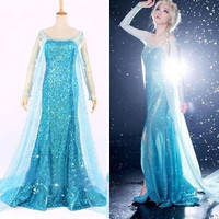 Hot Blue Bling Frozen Elsa Queen Adult Women Party Dress Costume Elsa Dresses = 1828321092