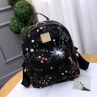 Black Galaxy Printed Canvas Backpack