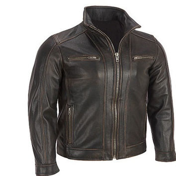 handmade men black leather jacket with front quality zipper and button biker leather jacket