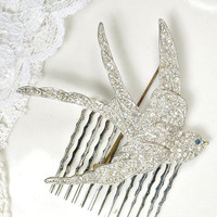Antique Bird HAIR COMB or Brooch, Pave Rhinestone 1920s Wedding Hair Accessory, Art Deco Bird Bridal Sash Pin or Hair Clip Swallow Headpiece
