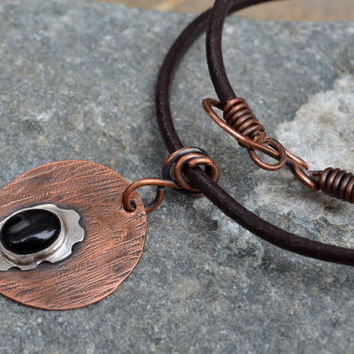 Unisex Chocker, Oxidized Copper, Sterling Silver and Onix Cabochon Pendant in Leather Cord, Steampunk Style, Mens Necklace, Copper Pendant