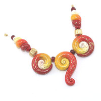 Ombre elegant beads, color gradient combination set of Polymer Clay beads in red orange, yellow and white, Spring shape unique beads