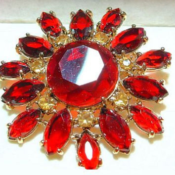 Vintage Monet Brooch Pin Red & Pale Yellow Rhinestones Gold Metal Signed Original Box 2 1/4""