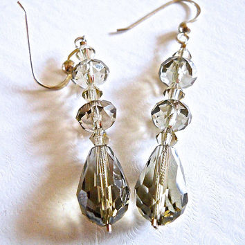 Smoky Crystal SWAROVSKI Sterling Silver Earrings, Vintage Faceted 2""