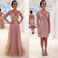Pink Lace Short Prom Dress 2017 Vestidos Long Sleeve Beading Arabic Formal Dresses Evening Wear Detachable Train