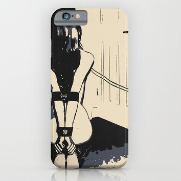 Erotic BDSM art, sexy kitten slave girl, kneeling tied with her leash, nude woman in submissive pose iPhone & iPod Case by Peter Reiss