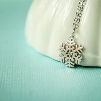 Snowflake Necklace, Available in Silver, Gold, and Rose Gold